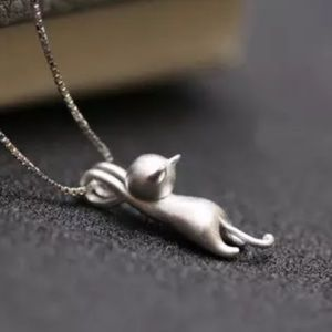 Jewelry - 925 silver chain & 925 brushed silver clinging cat